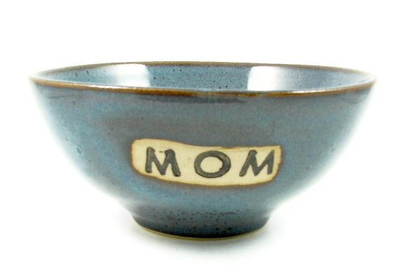 Blue Ceramic Bowl - Stamped MOM - Handmade Pottery Mothers Gift Bowl -  Wheel Thrown Stoneware Clay Bowl - Ready to Ship