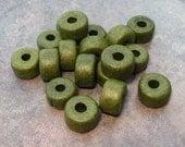 Shop Sale..Greek Ceramic DARK KHaKI Short Barrel Beads 8x5mm (15)
