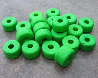 Greek Ceramic Beads Bright Green Short Barrel Beads 8x5mm (10)