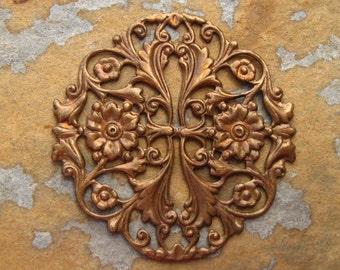1 Floral Garden Filigree Trinity Vintage Patina -  Trinity Brass Co.
