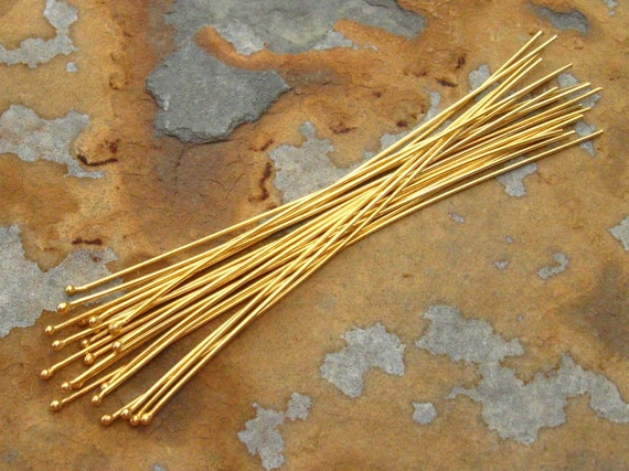 New Sale..4 Bali 24k Vermeil 22gauge 80mm - 3 inch  Headpins with Ball  LOW SHIPPING