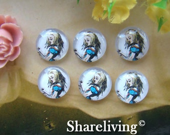 Glass Cabochon, 8mm 10mm 12mm 14mm 16mm 20mm 25mm 30mm Round Handmade photo glass Cabochons  (Alice In Wonderland) -- BCH141B