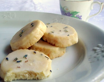 4 Doz Lavender Shortbread Cookies with Lavender Glaze //Bridal Shower//Baby Shower