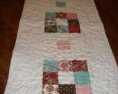 9-Patchwork Tablerunner Wallhanging Quilted-14 x 45