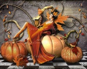 Autumn Diva Digital Collage Greeting Card (Suitable for Framing)