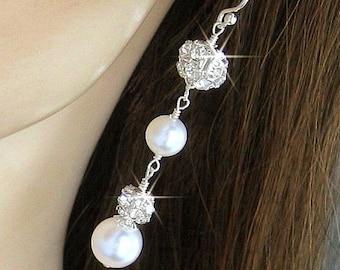 Pearl Earrings -  Pearl and Crystal Rhinestone Fireballs with White or Ivory Pearls - Wedding Jewelry - Long Drop Dangle Bridal Earrings