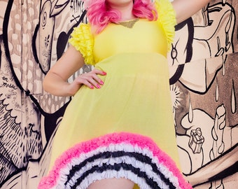 Japanese Fashion Harajuku Decora Girl KPop Kawaii Baby Doll Dress in Yellow Silk Knit with Neon Pink Black & White Ruffles by Janice Louise