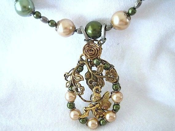 Fairy and Shiny Pearl Beaded  Handmade Necklace