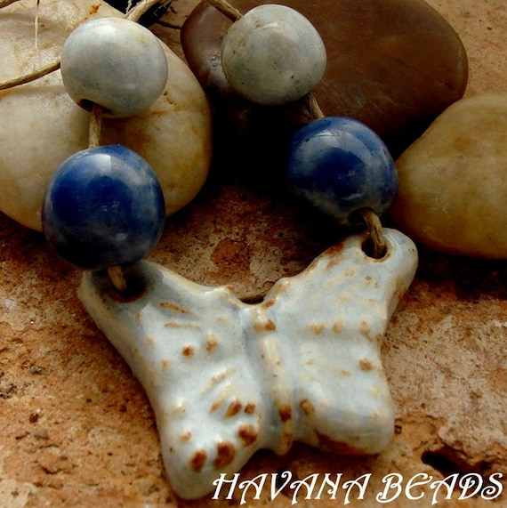 RUSTIC BLUE BUTTERFLY - Rustic Handmade Ceramic Butterfly Pendant with Coordinating Beads