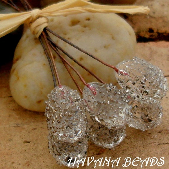 Sale Entire Store - CRYSTAL CLEAR - Drop Sparkle Head Pins - Set of 6 Handmade Lampwork Head Pins