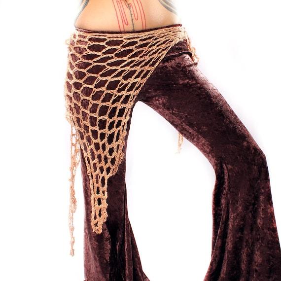 Free Crochet Pattern Hip Scarf : Woodland Fairy Shawl Hip Scarf Tan Cream Belly by CrudeThings