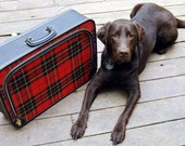 Vintage Luggage Red Plaid Suitcase Soft Sided Carry On Retro
