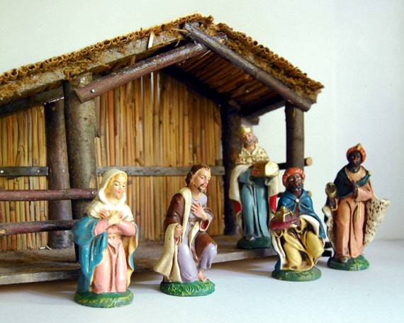 Reserved Vintage Creche Nativity Scene Italy By Calloohcallay