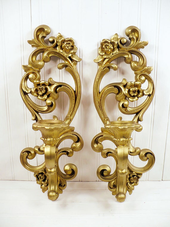 Gold Candle Wall Lights : Vintage Homco Gold Plastic Wall Sconce Candle Holders Set Pair