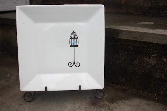 White Ceramic Bird Cage Trivet