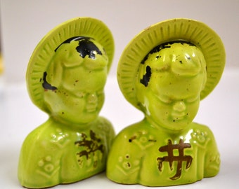 Vintage Asian Man and Woman Salt and Pepper Shakers Ceramic