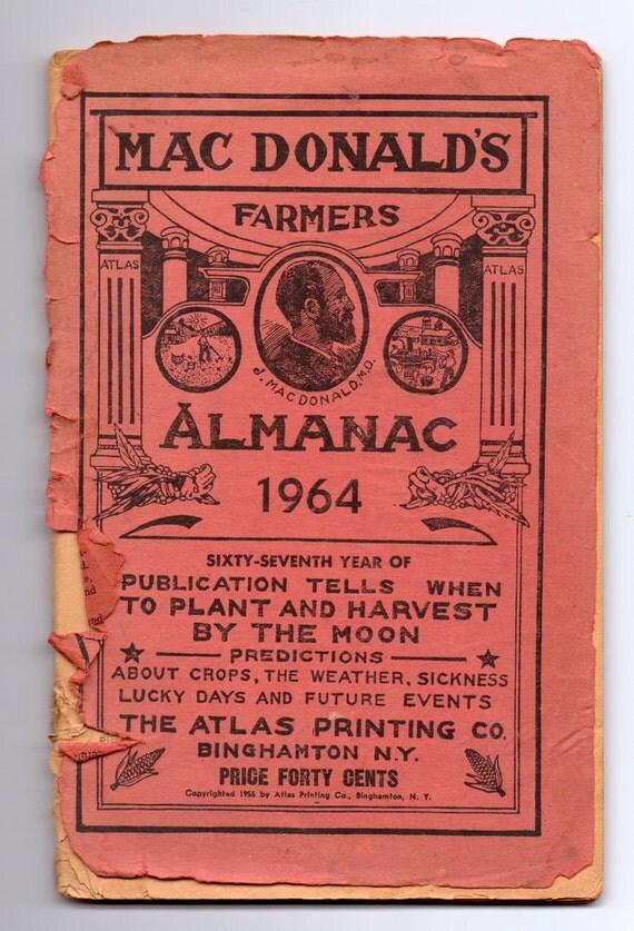 Vintage MacDonald's Farmers Almanac 1964