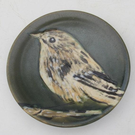 small dish with handpainted  bird