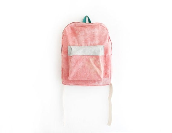 RESERVED - Coral dyed cotton canvas backpack with light grey pouch