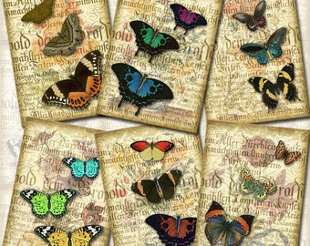 BuTTERFLY CoLLaGe- Vintage ARt Hang/Gift Tags/CaRDS-INSTaNT DOWNLoAD- Printable Collage Sheet JPG Digital File-New Lower Price