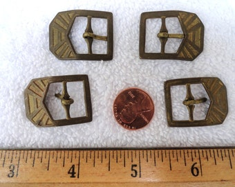 Four Small Vintage Brass Buckles, Deco Style, 31mm Buckle