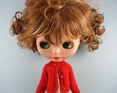 Blythe doll handmade knitted red cardigan sweater BL187