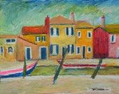Burano Italy  Original Unique Oil Pastel Cityscape Painting in Frame by International Greeting Card Illustrator Jeff Sterling Miami Florida