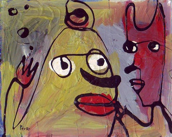 Yellow Dog Meets a Red Cat Drip Painting . Raw, Abstract, Outsider Art . Red, Yellow Green, Blue, Black