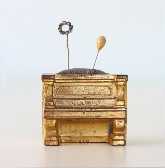 Vintage Piano Pincushion - Byron Mauzy Gold Medal Pianos