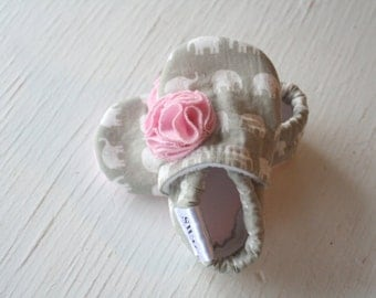 SWAG Baby Boy Girl Booties toddler infant newborn slippers shoes taupe grey white elephants pink FLOWER non slip soft soled