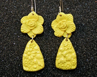 PLAIN FANCY Bright Yellow Carved Look Floral Drop Earrings