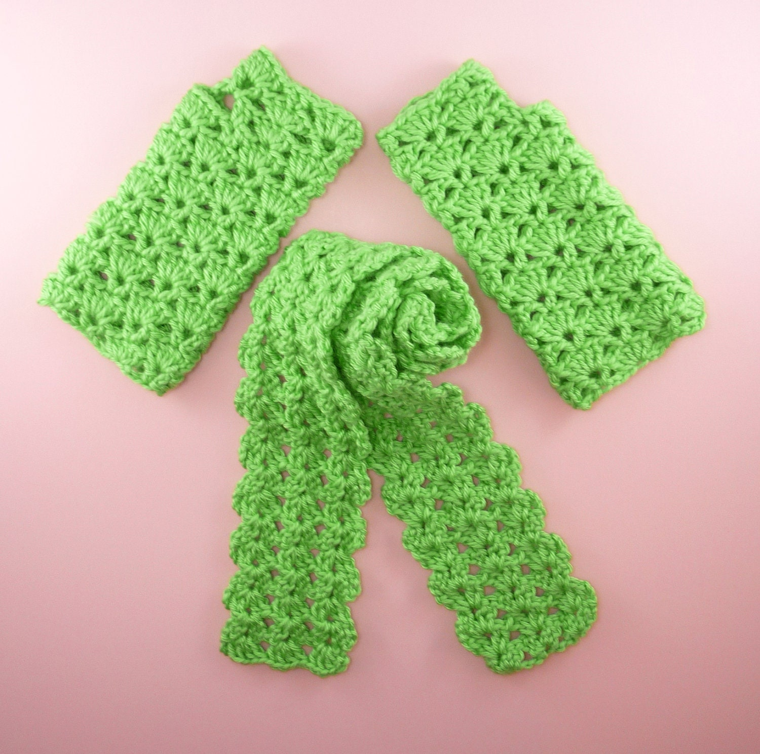 fingerless gloves matching scarf lime green fashion accessory