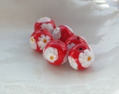 Six Red Venetian Murano Millefiori Glass Beads