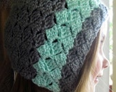Slanting Diamonds Crochet Bonnet Pattern