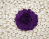 Chiffon Flower Hair Clip Purple Frayed Shabby Chic Rosette Fabric Flower Clippie