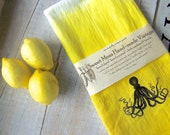 Beach House Octopus Towel //  Ombre Yellow Kitchen Flour Sack //  Dip Dyed Hand Towel // Modern Beach House