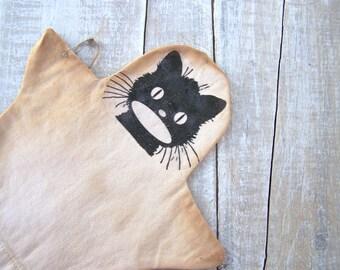 Primitive Halloween Decor Black CAT Hand Puppet Cottage Grungy Prop DECORATIONS