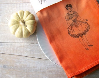 Autumn Kitchen // Fall Cloth Table Napkin // Dinner Napkins // Ombre Dyed //  Rustic Country Table Decor