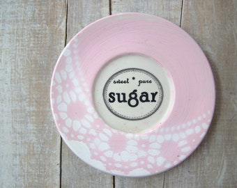 Sugar Sign //  Pink & White Shabby Kitchen Sign // French Country Kitchen Dollie Wall Decor // Vintage Retro Sign