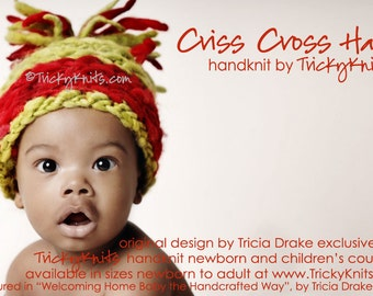 KNITTING KIT - Criss Cross Baby Hat Chunky Newborn Toddler Photo Prop knit your own in Red and Green for Christmas original designer
