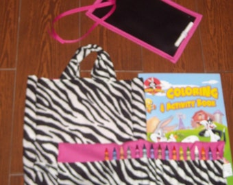 Hot pink and zebra little artist set (crayon roll, chalk mat, and tote)