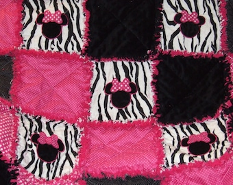 Custom Personalized Minnie Zebra & Hot Pink Baby Rag Quilt Crib Toddler Bed Teen or Adult Throw ** Made To Order **