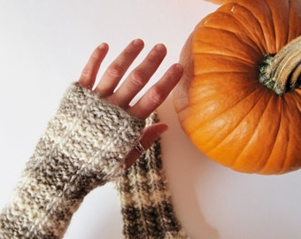 TIDAL fingerless mittens in natural, owl feather colored wool - cream & brown - earthy mori girl fingerless mittens sale
