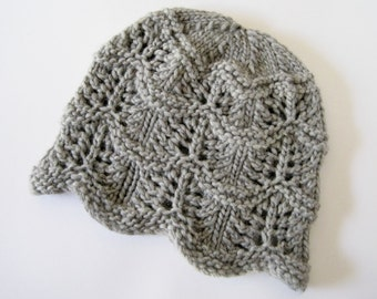 Knitted Hat - Women's Winter Accessories - Hand Knit Wool Cloche Cap - Chunky Lace Knit Beanie in Heather Grey Wool