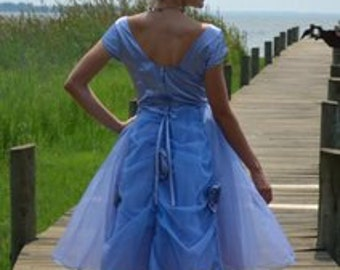 Vintage Bridesmaid Prom Absolutely Fabulous Mid Century 1950s Alice Blue Gown Dress New Look 34 Bust 24 Waist