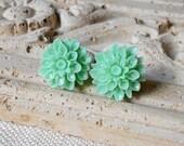 Mint Flower Earrings, Seafoam Stud Earrings, Green Earrings, Chrysanthemums, Mums