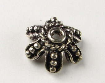 Lovely Large Dotted Scalloped Flower Bead Caps Bali Sterling Silver 13mm (2 beads)