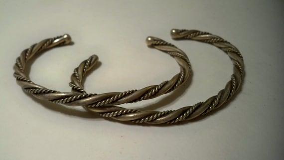 Vintage Silver Twist Cuff Bracelets