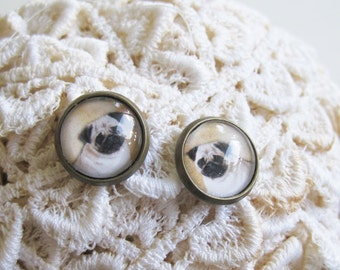 Pug Antique Brass Post Earrings