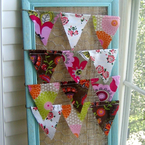 Sewn Fabric Pennant, Flag, Banner, Bunting, Fabric Banner, Twine Pennant,  Decoration, Flag Prop, 8 foot pennant,  Retro Fabric Mix, No. 027
